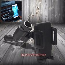 Car/SUV Cigarette Charge Outlet Mount Holder+USB Port for Samsung Galaxy Mobile