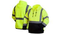 Pyramex High Visibility Hooded Sweatshirt Class 3 Safety Hoodie Hi vis lime M-5X