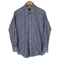 Hawes & Curtis Mens Button Up Shirt Size 16 (Large) Slim Fit Striped Long Sleeve