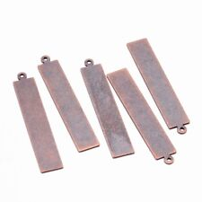 10x Red Copper Rectangle Metal Tags Brass Blank Stamping Tag Pendants 41x7x0.3mm