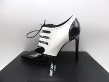 Saint Laurent YSL Paris 105 Black White Ankle Boots Booties Lace Up 36 6