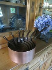 More details for a super set  of seven vtg.french  rustic copper saucepans ~ country kitchen