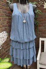 vestito spiaggia vestito con Spalline Estate HIPPIE IBIZA BLU VOLANT DOLCE 36-38