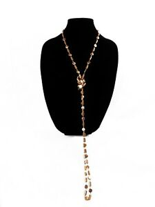 """Extra Long Beaded Shell Necklace Brown 31"""""""