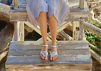 TOMS WHITE LEATHER WOMEN'S LEXIE SANDALS SHOES. Style # 10007921