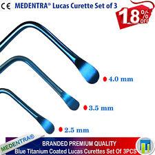 Lucas Surgical Bone Curettes 2.5mm,3.5mm,4mm Periodontal Curetas de Lucas 3PCS