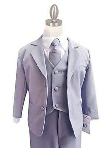 CLASSYKIDZSHOP BOYS GRAY FORMAL SUIT WITH LONG TIE SET (BABY - XL) FREE SHIPPING