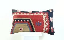 Kilim Pillow Cover 12x20 Handmade Oushak Rug Wool Boho Lumbar Sofa Cushion 2596