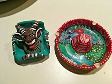 South Central American INDIAN Handmade Handpainted Pottery Hat Tray Tribal NICE!