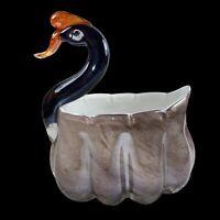 Swan Art Glass Vase Planter Golden Glitter