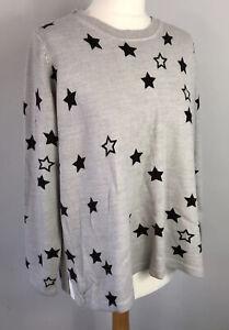 M&S Size 18 Light Grey Black Star Jumper Thin Sleeves Autumn Winter Workwear
