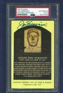 Joe DiMaggio Autographed HOF Plaque Postcard New York Yankees Baseball PSA SLAB