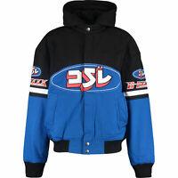 DIESEL Men's J-RAIDEN Black and Blue Hooded Twill Bomber Jacket, size M