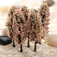 20PCS Pink Peach Flower Trees Model Train Fairy Garden Park Scenery Accessories