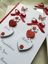 Handmade Personalised Boxed Ruby Wedding Card Engagement Anniversary 40th