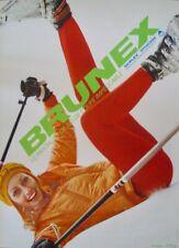 BRUNEX SKI CLOTHINGS Fashion Vintage 1968 Swiss advertising poster 36x51 NM