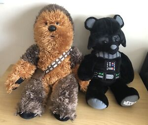 Two Build A Bear Star Wars : Darth Vader (heartbeat)  &  Chewbacca!