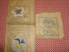 set of 3 Vintage Pimitive Rug Hooking Burlap Printed Floral Patterns-Pansy
