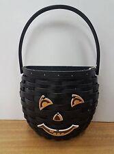Longaberger Black Hanging Seasons Basket + Halloween Pumpkin Face Tie Retired