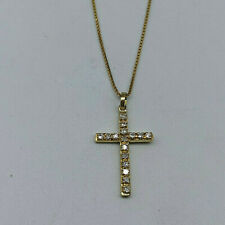 18ct Gold 25pt Diamond Cross & Chain Necklace.  Goldmine Jewellers.