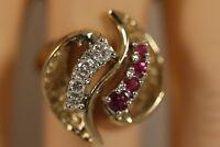 HEAVY WIDE VINTAGE 14K YELLOW GOLD RUBY DIAMOND ART DECO FLOWER STARBURST RING