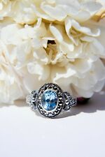 Blue Topaz Vintage Style Marcasite Ring Sterling Silver 925 RRP €85