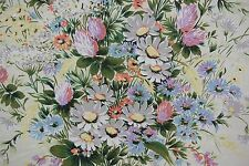 """French Printed Chintz Fabric LES VERTS PRES PARIS 2 yds. 20""""  Edge was sewn"""