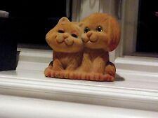 "VINTAGE FELT CAT & DOG FIGURINE STATUE ~ ADORABLE 4.25"" T X 4.50"" W ~ HONG KONG"