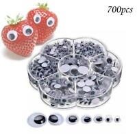 700Pcs 4 12mm Mixed Wiggly Wobbly Googly Eyes Self adhesive_Scrapbooking P2D6