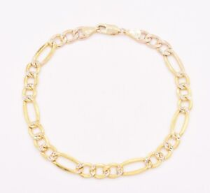 6.5mm Figaro Link Bracelet Pave Two Tone Real Genuine 10K Yellow White Gold