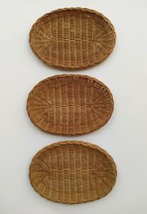 Vtg 3 Oval Wicker Rattan Bamboo Paper Plate Holders Basket Wall decor 11 x 8