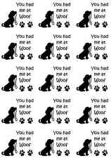 "You had me at Woof Dog 5"" X 3-1/2"" Card Black Fused Glass Decals 16CC666"