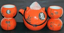 Orange glossy Teapot with dragon characters (11½cm dia) and four insulated cups