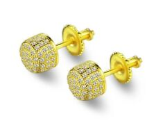 Men 14k Yellow Gold Sterling Silver Lab Diamond Round Back Stud Earrings