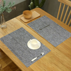 Placemats Set of 6 PVC Heat-Insulation Dining Table Mats Pad Woven Washable Gray