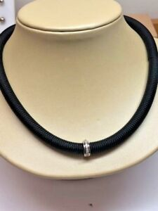"""Alor """"Kai"""" Black Stainless Steel Stretch Cable & Diamonds 17"""" Necklace NEW"""