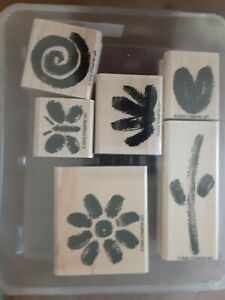 2002 Stampin Up Two Step Painted Garden Rubber Wood Stamp Set of 6