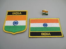 Set of  Embroidery Flag Patch and Badge shield Patch and Lapel pin INDIA