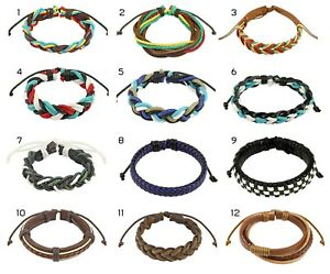 Mens / Womens Real Leather Bracelet / Wristband with Drawstrings
