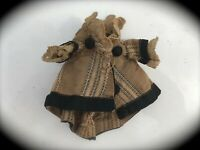 Antique Light Brown and Black Doll Dress w/ Buttons Vintage Gothic Victorian