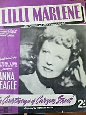 Lilli Marlene Poster Song Sheet  1940's