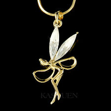 w Swarovski Crystal Gold T Fairy Tinkerbell Tinker ANGEL Dancer Necklace Jewelry