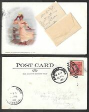 1907 Pretty Lady Postcard - Add-On Envelope for Message