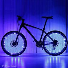 Impermeable 20 LED Bicicleta Bicicleta MTB Accesorio Rueda Neumático Rayo Tira Luz Azul