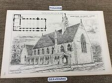 1883 original Architect print - Parish Room All Saints Church , Clifton - Plan