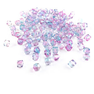 Blue/Pink Acrylic Beads Faceted Cube 8mm Pack Of 100+