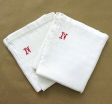 "Pair of Vintage French Dish Towels, Monogrammed ""N"", Honeycomb, ""Nid d'Abeilles"""