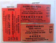 Vintage LOT Of 4 Old PACIFIC TRAILWAYS Train Station TRANSIT TICKET / PASSE