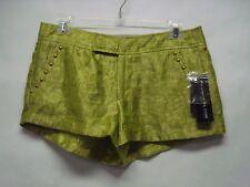 "NWT Rampage Lime Embossed Shiny ""High Tea"" Mini-Shorts w/goldtone studs Sz 7"
