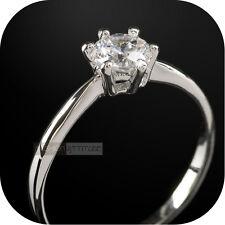 18k white gold gp made with swarovski crystal wedding ring 0.5ct UK AU L